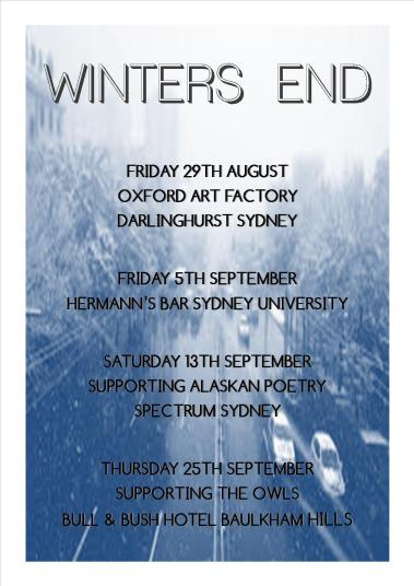 Winters End Shows Aug Sept 2014